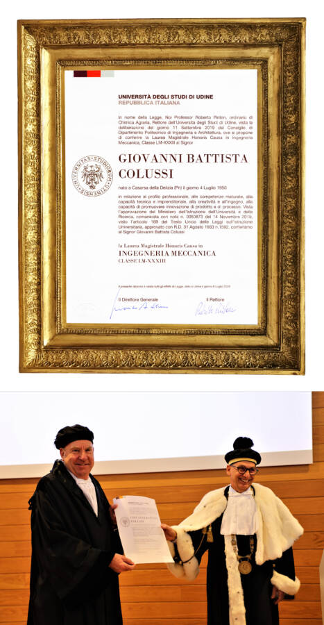 HONORIS CAUSA DEGREE CONFERRED TO INVENTOR AND INNOVATIVE ENTREPRENEUR GIOVANNI BATTISTA COLUSSI